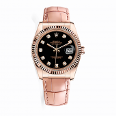 Rolex Datejust 36 mm Everose Gold 116135 Jubilee Black Diamond