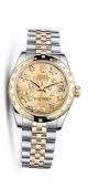 Rolex Datejust 31mm Stainless Steel and Yellow Gold 178343 Champagne Floral Jubilee