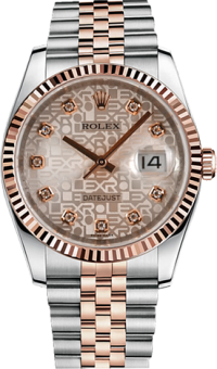 Rolex Datejust 36 mm Steel and Everose Gold 116231 gold dial