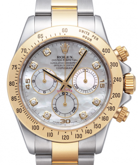 Rolex Cosmograph 40mm Steel and Yellow Gold 116523 WhiteMOP Diamonds