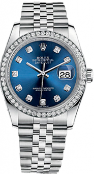 Rolex Datejust 36mm Steel and White Gold 116244 blue