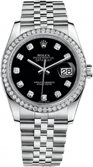 Rolex Datejust 36mm Steel and White Gold 116244 Black