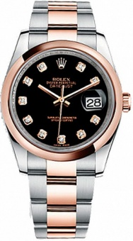 Rolex Datejust 36 mm Steel and Everose Gold 116201 Black Diamonds