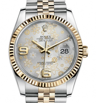 Rolex Datejust 36mm Silver Floral Jubilee 116243