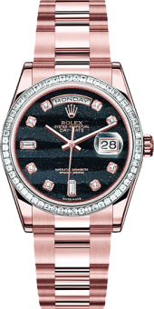 Rolex Day-Date 36mm Sertie Pink Gold Black Diamonds 118395-73205